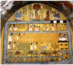 """Hypogée de Sennedjem Illustration """"du livre pour sortir au jour"""". s.n, les fameux champs d'Ialou (Iarou): champs paradisiaques...en Égypte ancienne, nh, [en ligne], Disponible sur :http://www.aime-free.com/article-ce-fameux-champs-d-ialou-en-egypte-ancienne-81067811.html (consulté le 17 mars)"""
