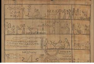 Présentation de Djedhor au travail dans les champs de l'au-delà, Basse Epoque, 664 - 332 avant J.-C, conservé dans l'aile Sully du musée du Louvre. CENIVAL (J-L.), PIERRAT BONNEFOIS (G.),Fragment de livre des Morts sur papyrus :Djedhor au travail dans les champs de l'au-delà, louvre [en ligne], Disponible sur: http://www.louvre.fr/oeuvre-notices/fragment-de-livre-des-morts-sur-papyrus-djedhor-au-travail-dans-les-champs-de-lau-del (consulté le 17 avril)